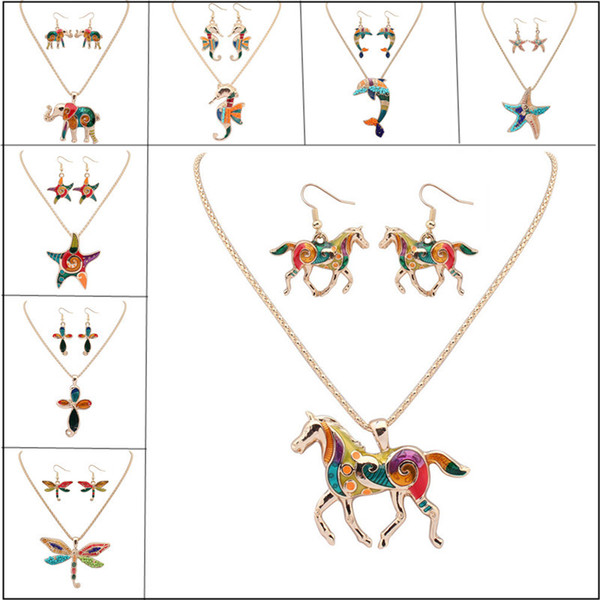 Hot Enamel Starfish Elephant Dolphin Animal Charm Necklace Earring Sets Women's 14K Gold Plated Colorful Drip Resin Paint Pendant Necklace