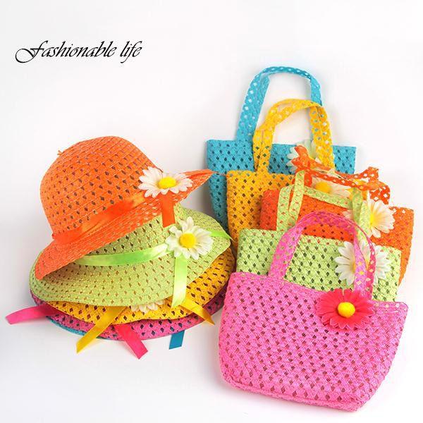 Wholesale- Summer Hat Girls Kids Beach Hats Bags Flower Straw Hat Cap Tote Handbag Bag Suit Hot Selling