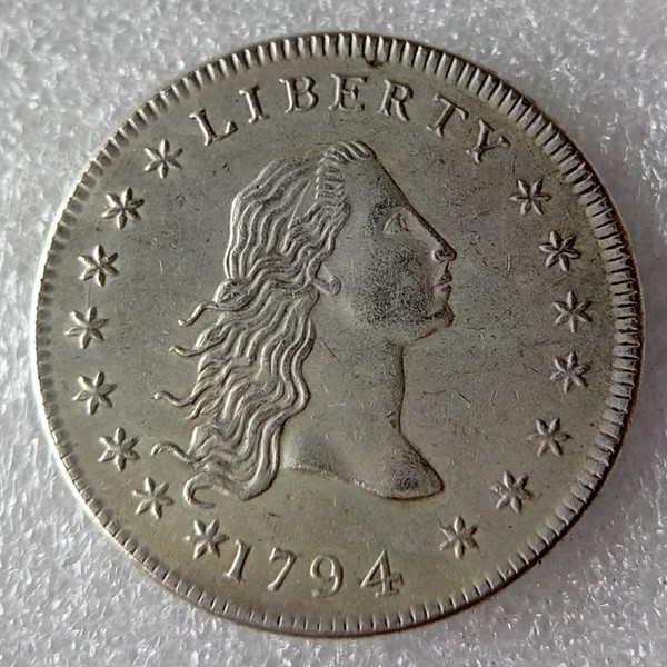 top popular United States Coins 1794 Flowing Hair Brass Silver Plated Dollar Smooth edge Copy Coin 2021