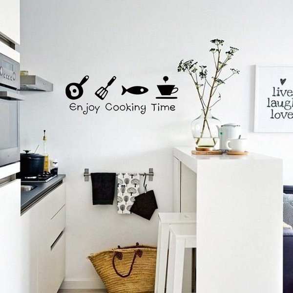 Enjoy Cooking Time Wall Sticker Kitchen Personality Interesting Decor Vinyl Wall Quote Home Art Sticker Diy Sticker For The Wall Decoration Sticker