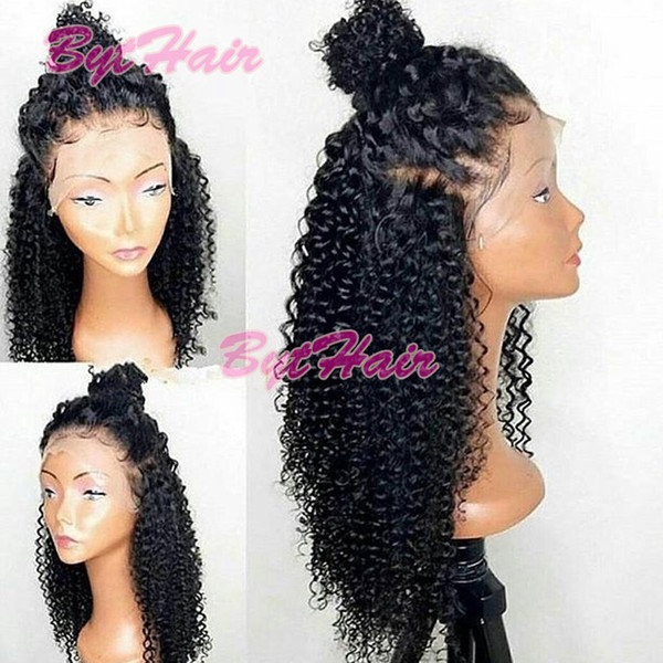 top popular Bythair Lace Front Human Hair Wigs For Black Women Curly Lace Front Wig Virgin Hair Full Lace Wig With Baby Hair Bleached Knots 2019