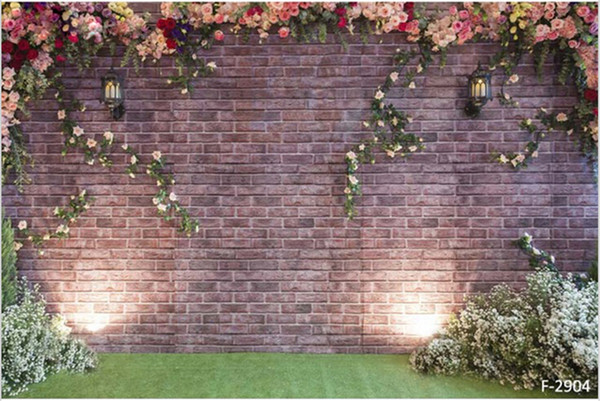 top popular 10x6ft Vintage Brick Flower Wall Backdrop Wedding Light Romantic Roses White Flowers Green Floor Studio Photo Props Photography Backgrounds 2019