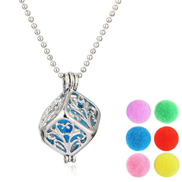 Medaglioni per aromaterapia Medaglione Diffusore Collana a forma quadrata Profumo Medaglione Gabbia Design Collane Diffusore Ciondolo medaglione Per regalo