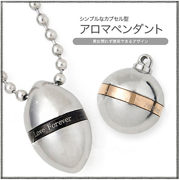 Stainless Steel Forever Love Lovers Jewelry Oval Ball Perfume Bottles Pendant Necklace Couples Keepsake Openable Put in Love Notes Box Gifts