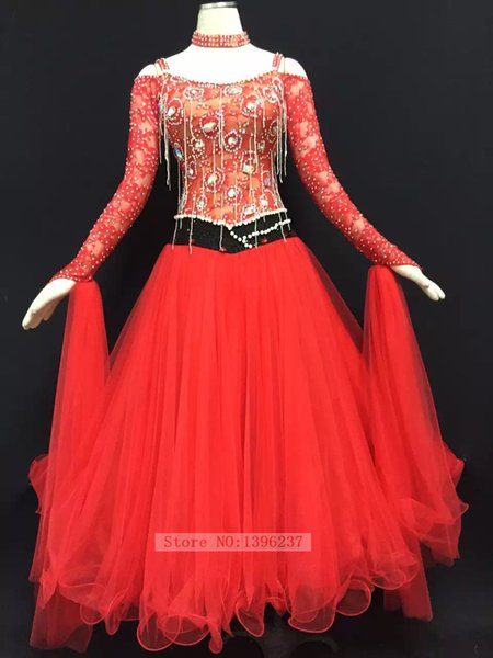 Ballroom Dance Dresses Women Tango Waltz Dancing Skirt Lady 2017 New Sexy Long Sleeve Red Ballroom Competition Dress