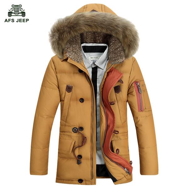 Al por mayor-Envío libre 2017 abajo de la chaqueta de invierno chaqueta hombres abrigo blanco pato largo espesar Outwear Fur Parka de los hombres con capucha 168hfx