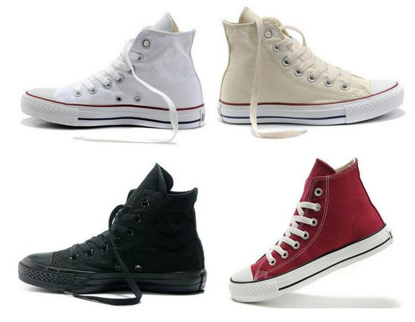 Factory vente NEW size35-45 Nouveau Unisexe Low-Top High-Top Adulte Femmes Chaussures Toile pour Homme 14 couleurs Chaussures Casual Laced Up Chaussures Sneaker