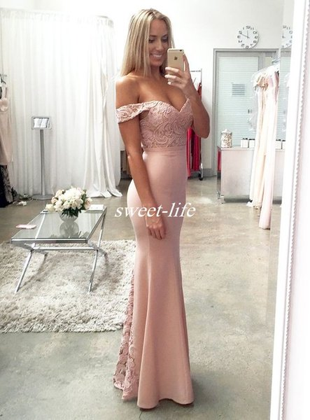 New Blush Pink Cheap Bridesmaid Dresses Sexy Mermaid Lace Long 2017 Formal Wedding Party Dress/Evening Party Gowns Custom Made Off Shoulder