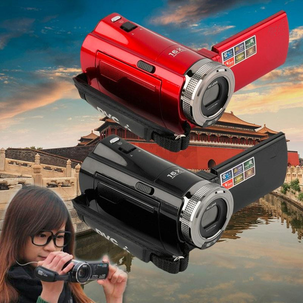 "Wholesale-2.7"" TFT LCD 16MP Digital Camera HD 720P Photo Video Camcorder 16X Zoom Anti-shake DV LED Fill Light Non-touch Cheap Camera"