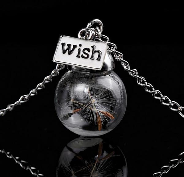 Collana con bottiglia di vetro Semi di tarassaco naturali in vetro collana lunga Make A Wish Perle di vetro Orb gioielli in argento placcato Collana G125