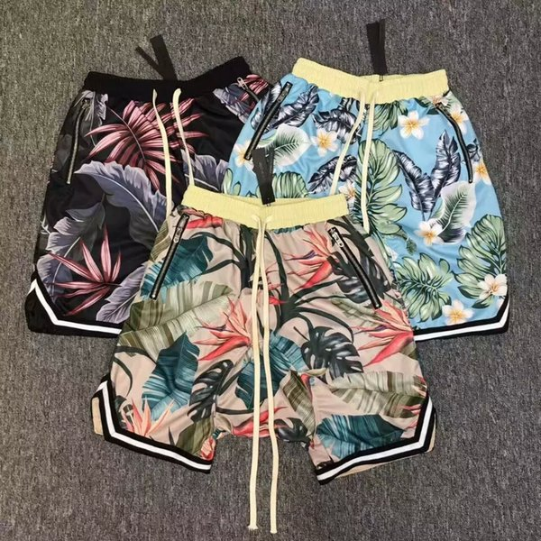 best selling Justin Bieber FOG fear of god Collection 3D Plants Floral shorts Running Breathable short stretch sweat jogger shorts casual beach pants
