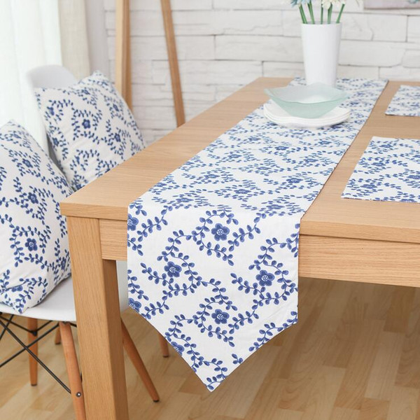 top popular elegant chinese style table runner blue and white porcelain runners set cushion cover placemat modern decorative tablecloth accessories 2021