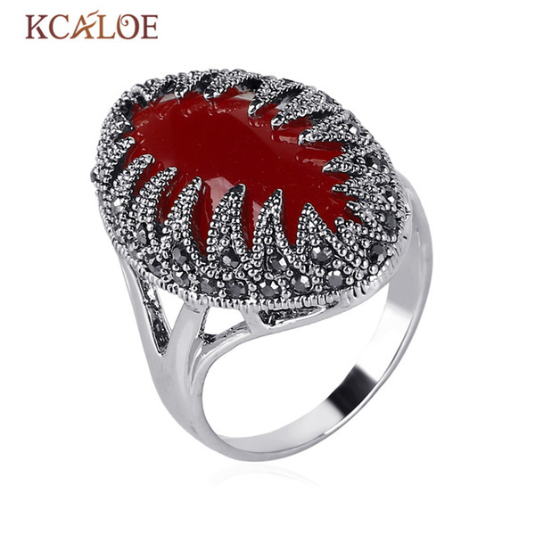 Wholesale- Red Stone Rings For Women Vintage Black Rhinestone White Gold Color Marcasite Statement Ring Bijoux Bagues Femme