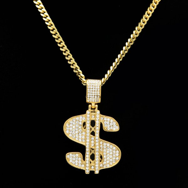 Hip Hop Stainless Steel US Dollar Money Pendant Necklace Luxury Gold Plated Chain Jewelry Women Accessories Necklace Collier