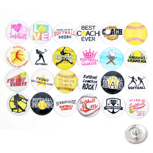 best selling Free Shipping 18mm Interchangeable button DIY Sport Style I love softball Snaps for 18mm Snap Jewelry Bracelet Ring Necklace