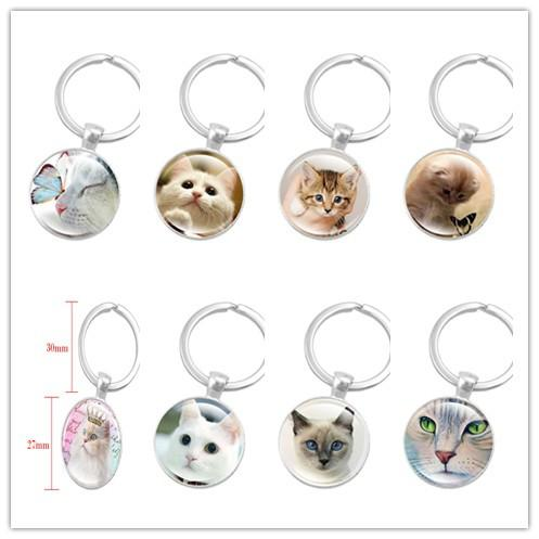 New 10pcs Creative Silver Color Key Chain Cute Cat Keychain Jewelry Art Glass Cabochon Pendant Keyring Key Ring for Women Lover Gifts