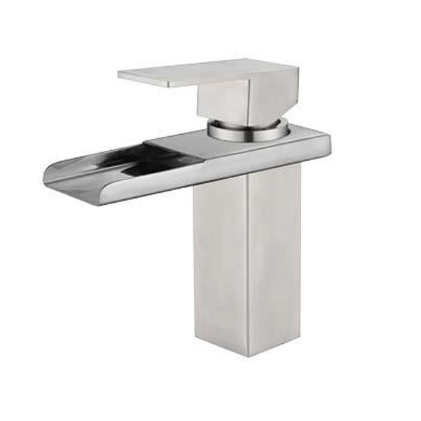 304 Stainless Steel Bathroom Sink Faucets Waterfall Spout Nickel Brushed Single Handle Hole Hot Cold Mixer Deck Mount Basin Taps SSMP007