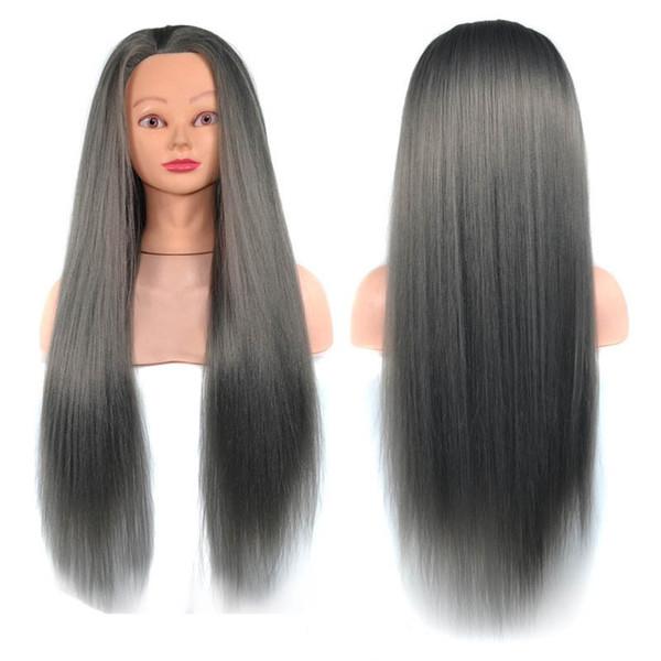 Modelo de cabeza de entrenamiento de peluquería de cabello largo de fibra de alta temperatura 100% con soporte de abrazadera Práctica cabeza de maniquí de salón Modelo de cabeza de peluca