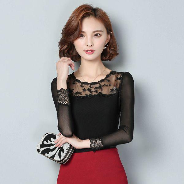 New Lace Women's Shirts Korean Fashion Hollow Out O-Neck Long Sleeve Female Chiffon Blouse Sexy Slime Printed Shirt Plus Size M-3XL