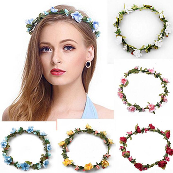 Bohemian Hair Crowns Flower Headbands Women Artificial Floral Hairbands Fashion Headwear for Girls Hair Accessories Beach Wedding Garlands