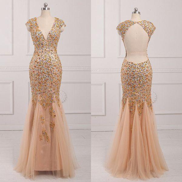 Gold Deep V Neck Long Prom Dresses Backless Crystal Real Pictures ...