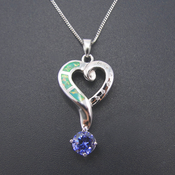Fashion jewelry 925 silver OPAL blue Pendant Distribution stainless steel chain presented gift Rhodium Plated DRPD1133P-OPAL Free Shipping