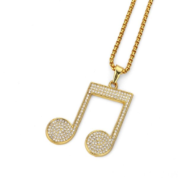 Fashion Costume Hip Hop Jewelry Men Note Pieces Pendant Necklaces Full Rhinestone Design 18k Gold Filled 75cm Long Chain