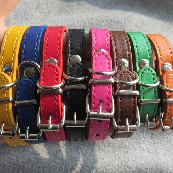 20pcs / lot Günstige PU Leder Haustier Kragen Katze Hundehalsband für kleine Hunde Mischfarbe verfügbar