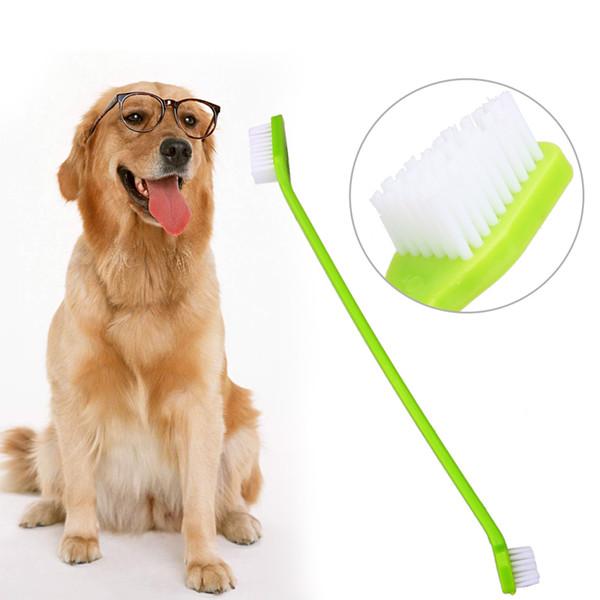 Escova de Dente do animal de Estimação Marca New Lovely Grooming Dupla Final Escova De Dentes Para Pet Dog Filhote de Cachorro Do Gato Pequenos Animais Grooming Do Cão