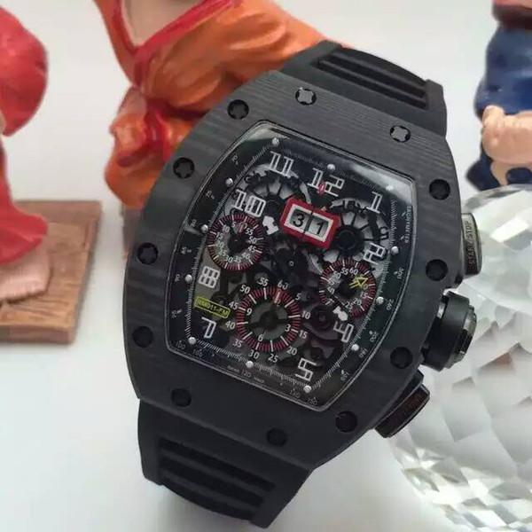 Top Brand Luxury Carbon Fiber Stainless ETA 7750 Movement Black Rubber Bracelets Date Mens Automatic Chronograph Watches Wristwatch For Men