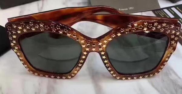 women Inspired Gold STAR Stud 3870S Oversized Light Brown Green Sunglasses 3870 Fashion designer Brand Plastic Sunglasses New with case