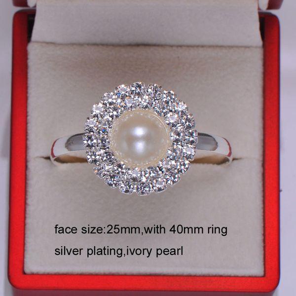 All'ingrosso (L0008-ring) 20pcs diametro 25mm / lotto anelli portatovaglioli strass per la decorazione tavola di nozze, argento o rosa chiaro placcatura in oro