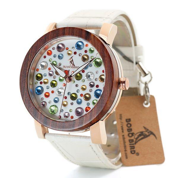 Бобо птица Красный сандалового дерева кольца женщины Япония кварцевые часы с двумя цветными кожаными ремешками в подарочной коробке