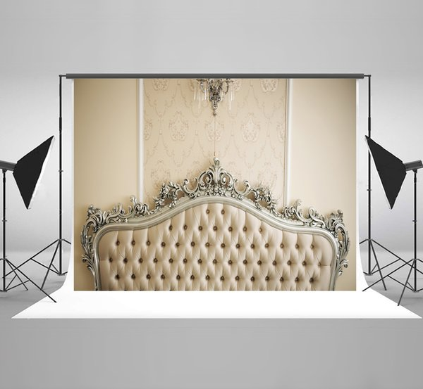 top popular Kate Headboard for Bedroom Photography Backdrops White Chandelier Background for Birthday Photo Backdrop 2019