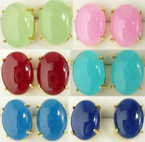 Wholesale cheap Fashion lady's blue / pink /red /green jade bead 18 KGP stud earrings