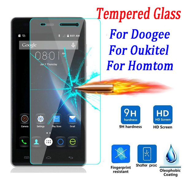 Wholesale-9H Tempered Glass Screen Protector for Doogee X5 X6 Pro 550 F5 Y100 Homtom HT6 Ht3 Ht7 Pro Oukitel K4000 K6000 Phone Case Film