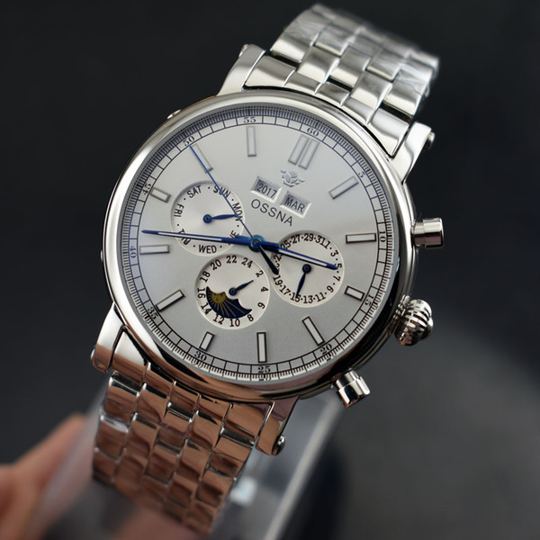 2167 Date&Day Ossna 41mm White Dial Stainless Steel Strap Automatic Men's watch