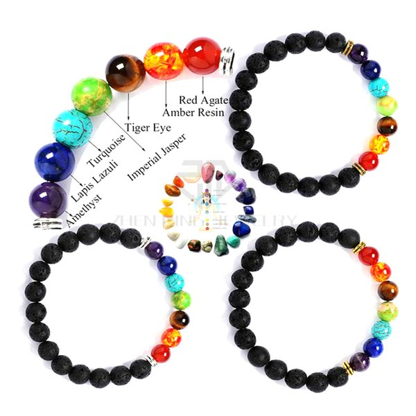 With Clay 8mm Mix 7 Color Chakra Bracelet Essential Oil Natural Lava Beads Bracelet Shamballa Chakra Bracelets