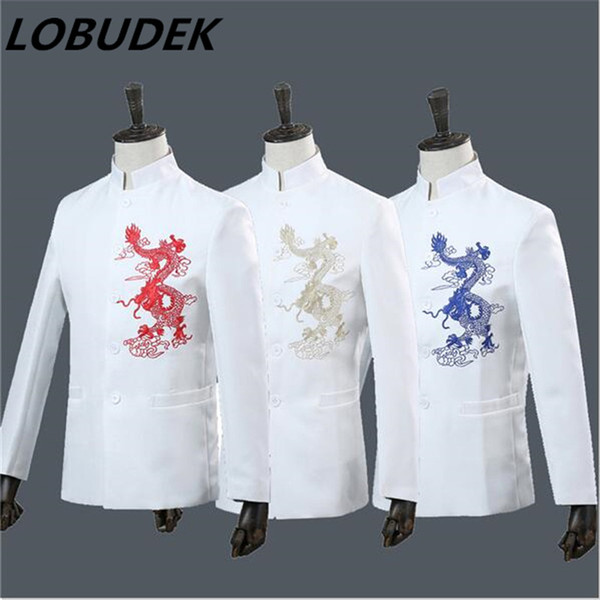 (jacket+pants) China style male suit embroidery coat blazer 2 pieces set singer team glee club costumes host formal performance stage wear