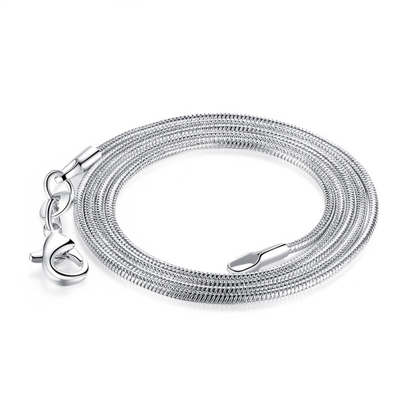 1.2MM 925 Silver Smooth Snake Chain Necklace Lobster Clasps Chains Jewelry 100pcs Fashion Women Necklaces Size16 18 20 22 24inch