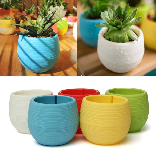 Small Cute Round Home Garden Office Decor Planter Plastic Plant Flower Pots 5 Colors free match color together