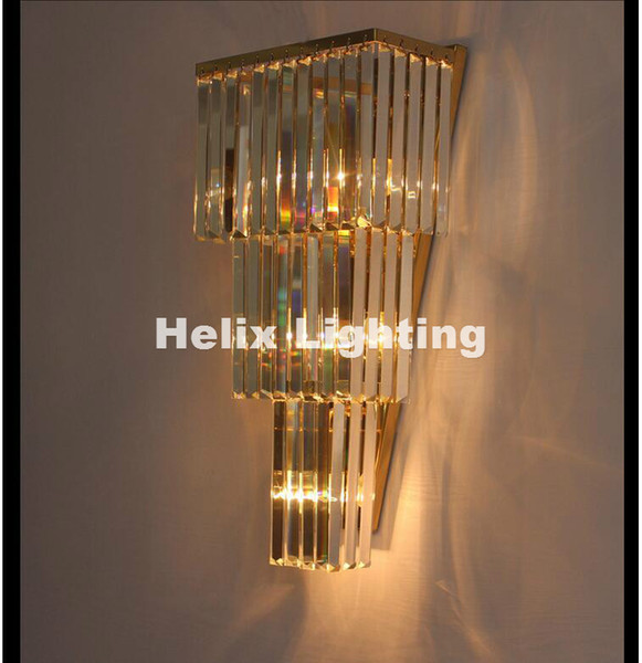 Newly Chrome/Golden Wall Lamp W30cm Wall Sconce Bedside Living Room Wall Light K9 Clear Crystal Guaranteed 100%+Free shipping!