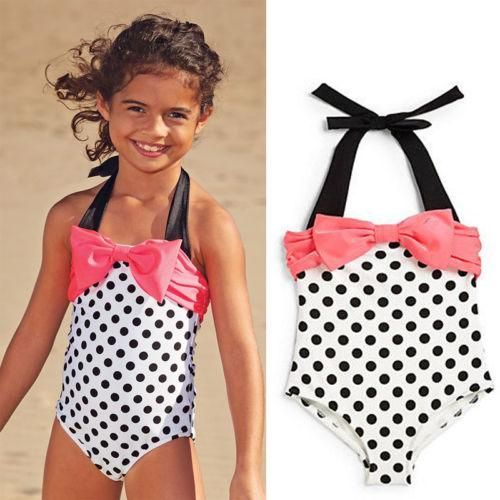 2017 Fashion Summer Baby Girl Swimsuit Kid Clothing One-pieces Pink Bowknot Black Dots Baby Kids Swimming Suits