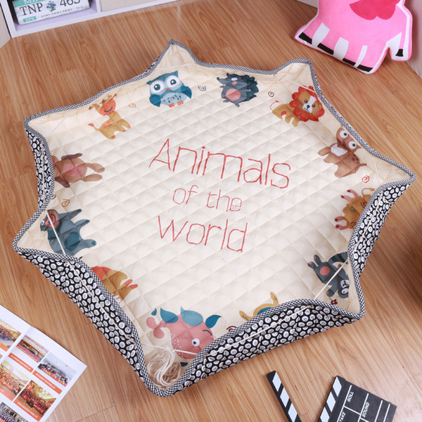 best selling Easter gift Rabbit cotton play mat Portable Folding Cartoon giraffe Round Kids Baby Crawling Pad Outdoor Toys Storage Bags Organizer 145cm