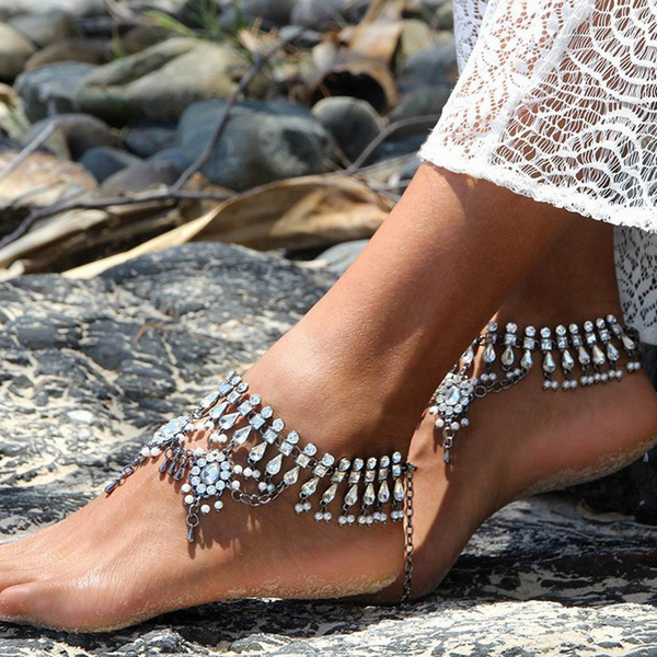 Vintage Silver Color Tassel Anklet Women Crysatal Beads Bohemian Ankle Bracelet tornozeleira chaine Boho Foot Jewelry 1PC/price Wholesale