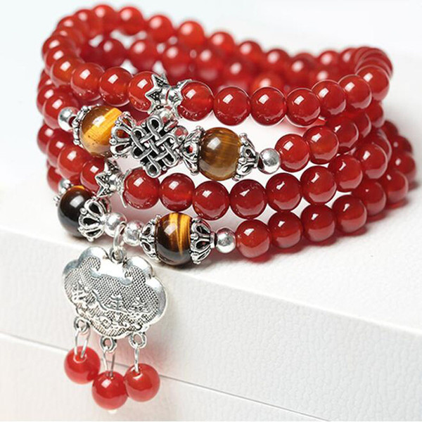 Natural Red Agate 108 Buddha Beads Multi-turn Bracelet Crystal Jewelry