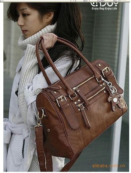 Großhandels- Frauen arbeiten koreanische Art Kunstleder Hobo Geldbörsen Schultertasche Handtasche Dame (Farbe: braun schwarz) BAOK-014a