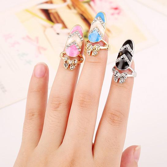 Free shipping Colourful Rhinestone Cute Bowknot Crystal Fingernail Rings Nail Art Rings Jewelry Special gift of choieces for women&girl