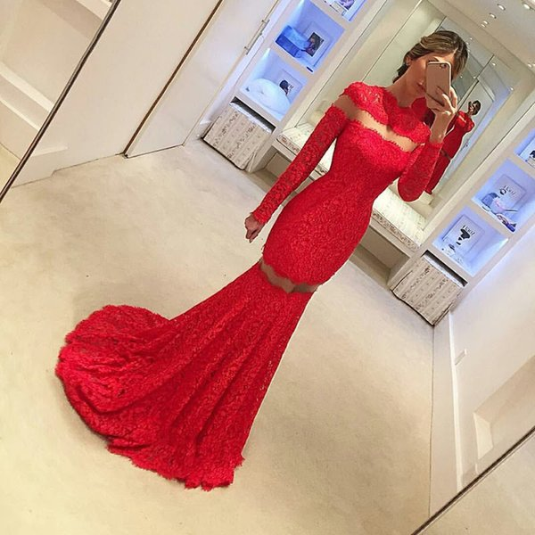 Robe de Soiree 2019 Elegant Red Lace Mermaid Evening Dresses Long Sleeves See Through Red Lace Evening Prom Gowns