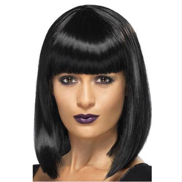 silky straight short bob wig simulation human hair full short bob style full wig in stock